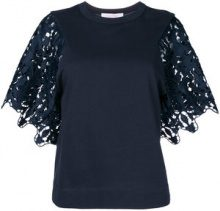 See By Chloé - Top con maniche in pizzo - women - Cotton/Polyester - XS, S - BLUE