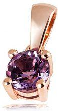 Goldmaid Collana con Pendente da Donna Oro rosa Rotondo Ametista Viola 5 millimeters