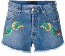 Versace - Shorts denim ricamati - women - Cotton/Spandex/Elastane - 25, 26, 27, 29 - BLUE