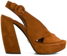 Prada - Sandali con cinturino posteriore - women - Suede/Leather - 36, 36.5, 37.5, 38, 38.5, 39, 40 - BROWN