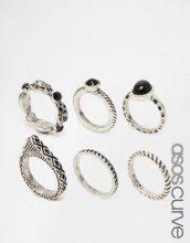 ASOS CURVE - Highway - Confezione di 6 anelli