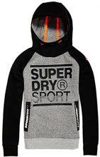 Superdry Gym Tech Emboss Print Overhead, Felpa Uomo, Grigio (Grey Grit/Black), X-Large (Taglia produttore:XL)