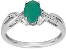 Jewelili Donna  925  argento Rotonda   verde Smeraldo Topazio FASHIONRING