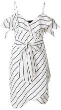 Kendall+Kylie - Vestito a portafoglio gessato - women - Polyester/Rayon - XS, M, S - WHITE