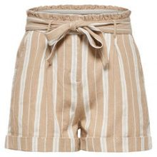 ONLY Striped Shorts Women Beige