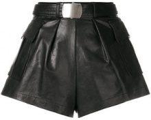 Philosophy Di Lorenzo Serafini - flared style shorts - women - Leather - 40, 42 - BLACK