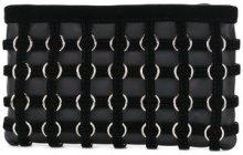 Alexander Wang - Clutch con motivo a grata - women - Calf Suede/Leather - OS - BLACK