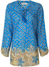 Tory Burch - geometric print tunic - women - Cotone - S, XS, L - BLUE