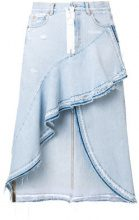 Off-White - asymmetrical denim skirt - women - Cotone/Polyester - 42, 40 - Blu
