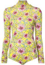Prabal Gurung - floral bodysuit - women - Viscose/Elastolefin - M - YELLOW & ORANGE
