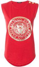 Balmain - T-shirt con logo stampato - women - Cotton - 36, 38, 40, 42 - RED
