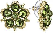 1928Jewelry, orecchini a bottone verdi con fiore di cristallo