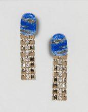 ASOS - Orecchini con catena di metallo e pietra in resina sintetica - Oro