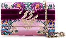 Casadei - Clutch con catena - women - Polyester/Velvet/Kid Leather - OS - PINK & PURPLE