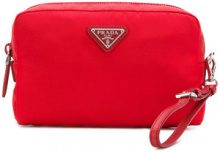 Prada - Trousse con applicazione logo - women - Polyamide - One Size - RED
