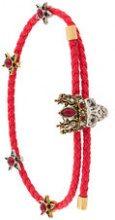 Alexander McQueen - woven skull friendship bracelet - women - Sheep Skin/Shearling - One Size - RED