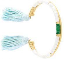 Aurelie Bidermann - Sioux pompon bracelet - women - Gold Plated Brass - OS - WHITE