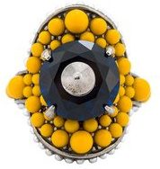 Gucci - multi-beaded ring - women - Bronzo/glass/Resin - 45, 48, 51 - Giallo & arancio
