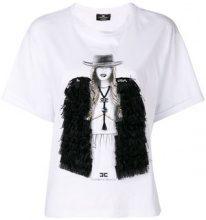 Elisabetta Franchi - embellished print T-shirt - women - Cotton/Polyester - 40, 42 - WHITE