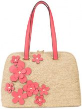 Christian Siriano - floral straw tote - women - Polyester - OS - BROWN