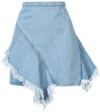 Strateas Carlucci - raw hem frill trim mini denim skirt - women - Cotone/Spandex/Elastane - S - Blu