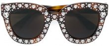 Gucci Eyewear - Occhiali da sole con Swarovski - women - Acetate/Swarovski Crystal - 49 - BROWN