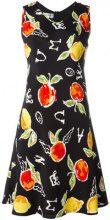 Jc De Castelbajac Vintage - Vestito con stampa 'Apple' - women - Polyester - 42 - BLACK