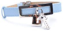 Adara-Targhetta rettangolare in argento, colore: azzurro, lunghezza 20 cm, con lucchetto e chiave.