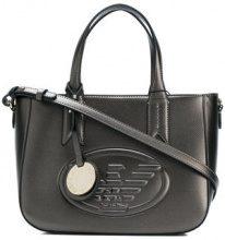 Emporio Armani - front logo tote bag - women - Cotton/Polyester/Polyurethane - OS - GREY