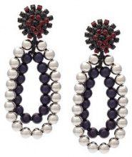 Marni - orecchini con clip e strass di perline - women - Crystal/Resin - OS - GREY