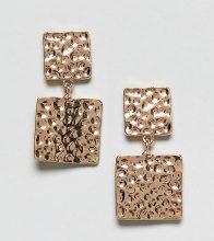 Reclaimed Vintage Inspired - Orecchini con quadrati in metallo martellato - Oro