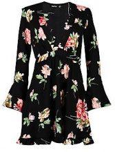 Amelia Floral Wide Sleeve Frill Hem Dress