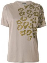 Rrd - T-shirt con stampa leopardata - women - Cotton - 46 - BROWN