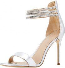 Guess Footwear Dress Sandal, Scarpe Col Tacco con Cinturino Dietro la Caviglia Donna, Argento, 38 EU