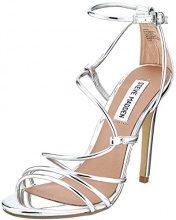 Steve Madden Smith Sandal, Scarpe con Cinturino alla Caviglia Donna, Silver (Silver), 37 EU