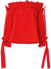 Sara Roka - ruched bardot top - women - Cotton - 40, 42, 44 - RED