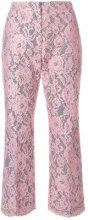MSGM - lace cropped trousers - women - Cotton/Polyester - 40 - PINK & PURPLE