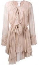 Chloé - frilled asymmetric dress - women - Silk - 34 - PINK & PURPLE