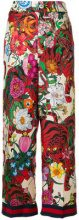 Gucci - Pantaloni con stampa a fiori - women - Silk/Cotton/Viscose/Acetate - 46, 38, 42, 44, 40 - MULTICOLOUR