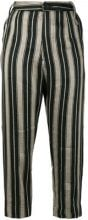 Lost & Found Ria Dunn - striped cropped trousers - women - Linen/Flax/Cupro - XXS, XS - BLACK