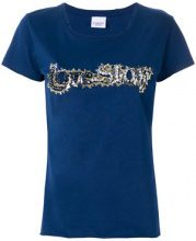 Pinko - embroidered short-sleeve T-shirt - women - Cotton/Aluminium/glass - S, M, L, XS - BLUE