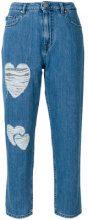 Love Moschino - Jeans taglio straight con applicazione a cuore - women - Cotton - 25, 26, 27, 30 - BLUE