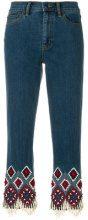 Tory Burch - Jeans con orlo ricamato - women - Cotton/Polyester/Spandex/Elastane - 25, 26, 27, 28, 29, 30, 24 - BLUE