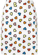 Love Moschino - heart print mini skirt - women - Cotton/Spandex/Elastane - 42 - WHITE