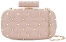 Valentino - Rockstud evening clutch bag - women - Lamb Skin - OS - NUDE & NEUTRALS