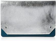 French Connection Contemÿ Slide Lock Carrie Lap - Pochette da giorno Donna, Mehrfarbig (Silver/urban Green), 1x25x37 cm (B x H T)