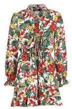 Saffie abito da giorno in raso stampa tropicale allacciato davanti