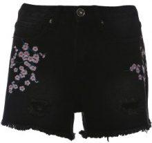Shorts di jeans con ricamo floreale