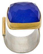 Katerina Makriyianni - Anello aperto - women - Sterling Silver/Gold Vermeil - OS - BLUE
