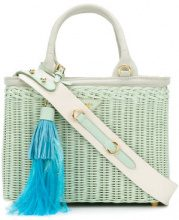 Prada - tassel embellished tote bag - women - Bamboo/Leather - OS - GREEN